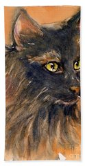 Black Cat Hand Towel by Judith Levins