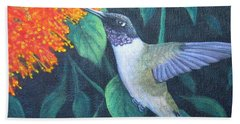 Hand Towel featuring the painting Black-chinned Hummingbird by Fran Brooks