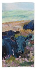 Black Cows On Dartmoor Hand Towel