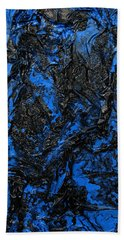 Black Cracks With Blue Hand Towel