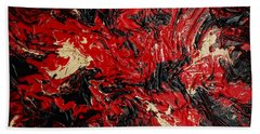 Black Cracks With Red Hand Towel