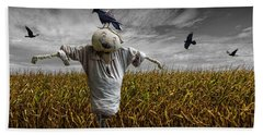Black Crows Over A Cornfield With Scarecrow And Gray Sky Hand Towel