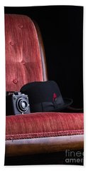 Black Hat Vintage Camera And Antique Red Chair Bath Towel