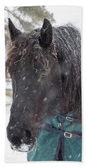 Black Horse In Snow Bath Towel