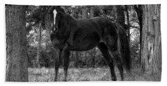 Black Horse Bath Towel by Joyce  Wasser