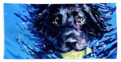 Black Lab  Blue Wake Bath Towel by Molly Poole