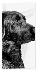 Black Labrador Retriever Dog Monochrome Bath Towel