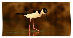 Bath Towel featuring the photograph Black-necked Stilt Waterdrops by John F Tsumas