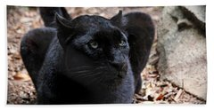 Black Panther Hand Towel by Judy Vincent