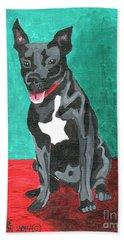Black Pit Bull Terrier Hand Towel