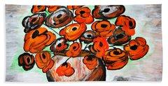 Black Poppies Hand Towel by Ramona Matei