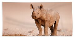 Black Rhinoceros Baby Hand Towel