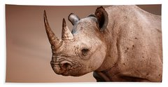 Black Rhinoceros Portrait Hand Towel
