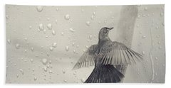 Blackbird In The Rain Hand Towel