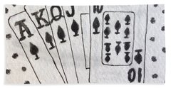 Blackjack Black And White Hand Towel by Kathy Marrs Chandler