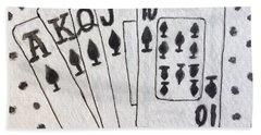 Blackjack Black And White Bath Towel by Kathy Marrs Chandler