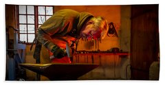 Blacksmith In Torresta Hand Towel by Torbjorn Swenelius