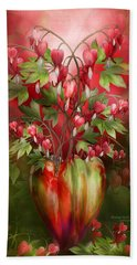 Bleeding Hearts In Heart Vase Hand Towel