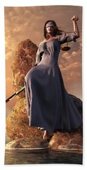 Blind Justice With Scales And Sword Bath Towel