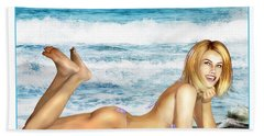 Blonde On Beach Hand Towel