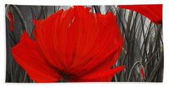Blood-red Poppies - Red And Gray Art Hand Towel