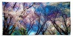Blossom Cherry Trees Over Spring Sky Bath Towel