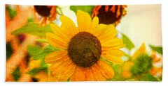 Bath Towel featuring the photograph Blossoming Sunflower Beauty by Toni Hopper