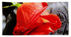Hand Towel featuring the photograph Blossoming Red by Robyn King
