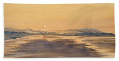 Bath Towel featuring the painting Blue Anchor Sunset by Martin Howard