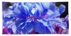 Blue And Purple Flowers Bath Towel by Matt Harang