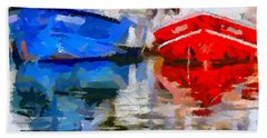 Hand Towel featuring the painting Blue And Red by Dragica  Micki Fortuna