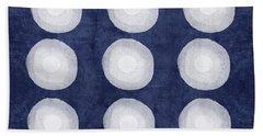 Blue And White Shibori Balls Hand Towel