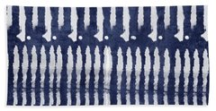 Blue And White Shibori Design Hand Towel by Linda Woods