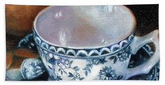 Blue And White Teacup With Spoon Bath Towel by Marlene Book