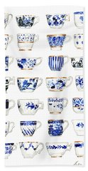 Blue And White Teacups Collage Bath Towel
