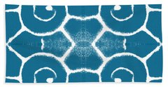Blue And White Wave Tile- Abstract Art Hand Towel