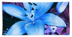 Bath Towel featuring the photograph Blue Asiatic Lily by Shawna Rowe