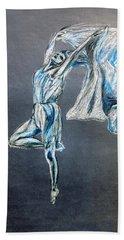 Blue Ballerina Dance Art Bath Towel
