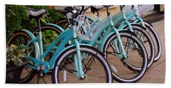 Blue Bikes Hand Towel by Rodney Lee Williams