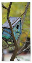 Hand Towel featuring the photograph Blue Birdhouse by Gordon Elwell