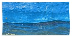 Blue Boat Abstract Hand Towel