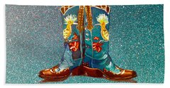 Blue Boots Hand Towel by Mayhem Mediums