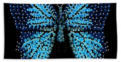 Blue Butterfly Black Background Hand Towel