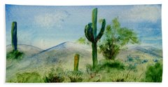 Bath Towel featuring the painting Blue Cactus by Jamie Frier