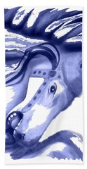 Blue Carrousel Horse Bath Towel