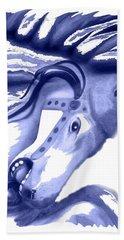 Blue Carrousel Horse Bath Towel by Joyce  Wasser