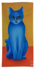 Hand Towel featuring the painting Blue Cat by Pamela Clements