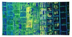 Bath Towel featuring the painting Blue City by Linda Bailey