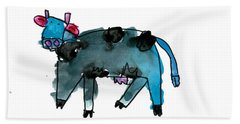 Blue Cow Hand Towel