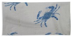 Blue Crabs On Sand Hand Towel